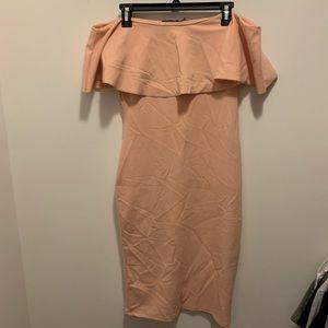 Off shoulder Boo Hoo Pink dress size 10